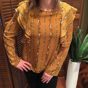 LOVERICHE floral boho ruffled blouse sz S